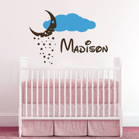 Cloud Wall Decal Name Vinyl Sticker Personalized Custom Name Stars and Moon Clouds Decals Kids Baby Name Nursery Girls Boys Room Decor AN673