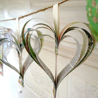 Shakespearean paper garland of hearts reserved for by bookity