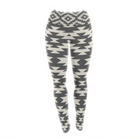 "Amanda Lane ""Southwestern Black Cream"" Tribal Geometric Yoga Leggings"