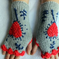 Hand Knitted Fingerless Gloves, Female gray gloves , Heart embroidered gloves,Turkish handicrafts, Gift Ideas, For Her, Winter Accessories,
