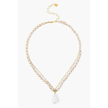 Chan Luu Champagne Pearl Mix Baroque Pendant Necklace