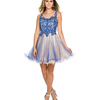 Royal & Nude Embroidered Bodice Short Dress 2015 Homecoming Dresses