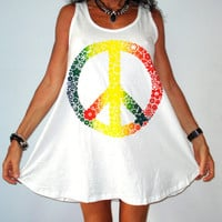 PEACE SIGN white long tank or short babydoll style dress one size M or L