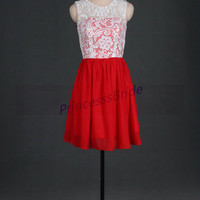 2014 short ivory lace red chiffon bridesmaid dresses,discount bridesmaid gowns,cheap cute dress for wedding party under 100,prom dress.