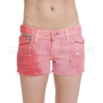 Tiffany Women's Low Rise Ombre Dip Dye Studded Red Shorts