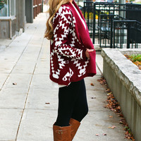 Can't Get Enough Aztec Cardi - Red