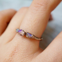 Alternate Engagement Ring / Opal Ring / Silver Ring / Stacking Ring / Solitaire Ring / October Birthstone / Triple Stone Ring