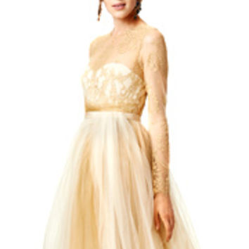 Marchesa Notte Dipped in Gold Gown