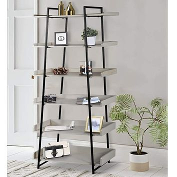 74 Inches 6-Tier Wooden Ladder Storage Bookshelf with Metal Frame, Gray and Black By The Urban Port