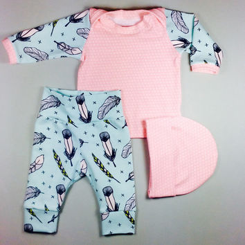 Organic baby girl going home outfit, Baby girl hospital outfit, going home outfit, baby girl coming home outfit,  organic baby set, Newborn