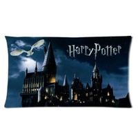 Custom Rectangle Pillow Cases 20x36 (two side)-Movie Harry Potter Custom Rectangle Pillowcase Owl Castle