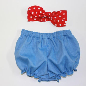 "Chambray ""Tough Girl"" Baby Bloomers Set, Denim, Baby Headband, Girl Headband, Baby Bloomers, Baby Clothing, Newborn Outfit,Rosie the Riveter"