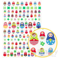 Colorful Patterened Russian Matryoshka Dolls Shaped A5 Sticker Sheet | Cute and Affordable Animal Shaped Paper Goods