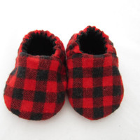 Baby Shoes, Soft Sole, Soft Shoes, Crib Shoes, Corduroy, Black, Plaid, Lumberjack