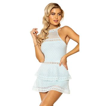 Sexy Taylor Lace Panel Tiered Halterneck Bodycon Dress