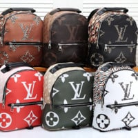 Louis Vuitton LV Women Fashion Leather Backpack Travel Bookbag