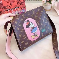 Louis Vuitton LV Women Shopping Leather Lovely Mickey Print Shoulder Bag Crossbody Satchel