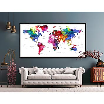 World map art, World map poster, print watercolor map, Colorful world map pastel, office decor -L22