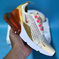 DCCK N664 Nike Air Max 270 Knit Breathable Cushion Running Shoes White Gold Brown