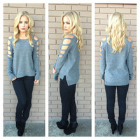 Charcoal Grey Shred Knit Sweater