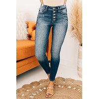 Mile High Button Up Kancan Skinny Jeans (Dark)