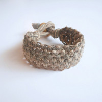 Lacy Hemp Cuff Bracelet in Sage, Khaki and Natural, ready to ship.