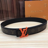 lv louis vuitton womens mens fashion smooth buckle belt leather belt monogram leather belt 40