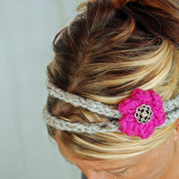 HEADBAND with FLOWER 2 strand hair band by MaRLandMiSchiEF