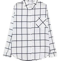 Long Sleeves Plaid Blouse with Single Front Pocket