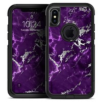 Purple Marble & Digital Silver Foil V2 - Skin Kit for the iPhone OtterBox Cases