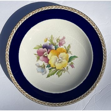 1940 Hand Painted Pansies Botanical English Transferware Plate Blue Border