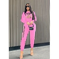 LV Louis Vuitton Autumn PopularWomen Casual Sweater Top Pants Trousers Set Two-Piece Sportswear Pink