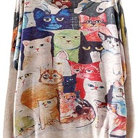 Pink Queen Women White Pullove Digital Cats Printed Cable Knit Sweaters
