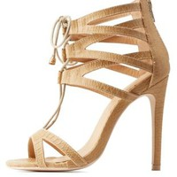 Camel Caged Lace-Up Dress Sandals by Charlotte Russe