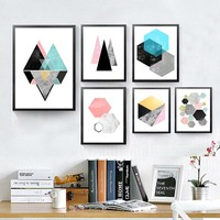 Nordic Modern Geometric Shape Canvas Canvas Prints Pictures Abstract Art Decorative Painting Print Poster Painting HD2096