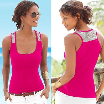 Camisole Low-cut Basic T-shirt Tank Top Solid Color Sleeveless Spliced Slim Ladies Thin Women's Vest Beach Tops