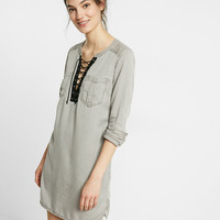 Silky Soft Twill Lace-Up Popover Tunic Dress
