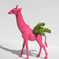 Giraffe Planter Pink Great Dorm, Nursery, Decor or Baby Shower Gift