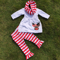 PERSONALIZED Girls Christmas Outfit, Red Striped Leggings, Girls Reindeer Outfit, Toddler Christmas Outfit, Girls Christmas Scarf, Boutique