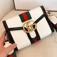 GUCCI New fashion stripe more letter leather shoulder bag crossbody bag White