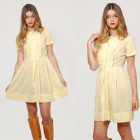 Vintage 60s BABYDOLL Mini Dress YELLOW Lace Short Sleeve Dress MOD Pleated Ruffle Rockabilly Fit and Flare Dress
