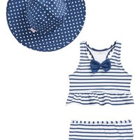 RuffleButts Stripe Peplum Two-Piece Tankini Swimsuit & Reversible Hat Set (Toddler Girls) | Nordstrom