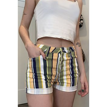 Button Front Striped Shorts by Dickies Girl
