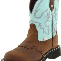 """Justin Boots Women's Gypsy Collection 8"""" Boot with Perfed Saddle Vamp,Bay Apache/Turquoise Waterproof,5 B US"""