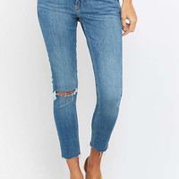 BDG Breeze Mid-Rise Ripped Light Blue Cropped Skinny Jeans - Urban Outfitters