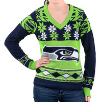 """Seattle Seahawks Women's Official NFL """"Big Logo"""" V-Neck Sweater by Klew"""