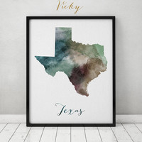 Texas state map, watercolor map, Wall art, Texas map poster, Texas state watercolor print, typography art, watercolor print ART PRINTS VICKY