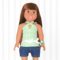 American Girl Doll Clothes Mint Green Halter Top and Denim Jean Shorts with Bracelet and White Clogs fits 18 inch dolls
