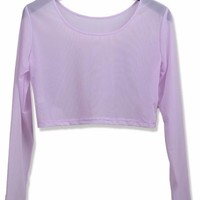 Sheer Long Sleeve Crop Tee