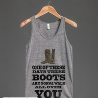 These Boots are Gonna Walk all Over You (Tank)-Athletic Grey Tank